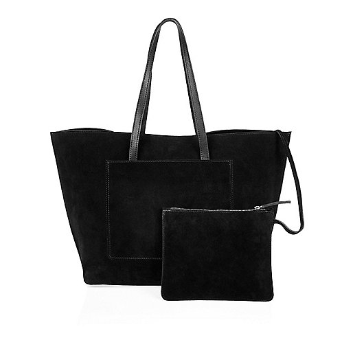 Black suede shopper bag with pouch