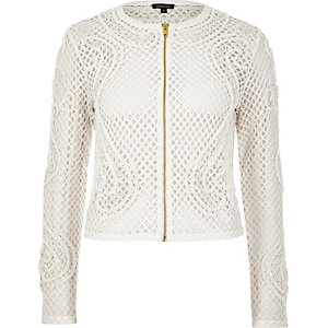 Cream embellished trophy jacket