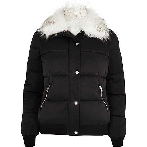 Black faux fur trim padded jacket