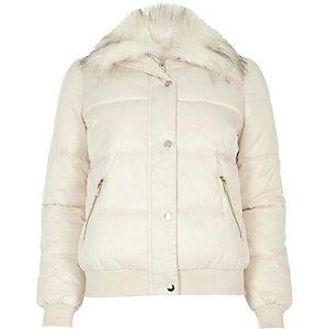 Cream faux fur trim padded jacket