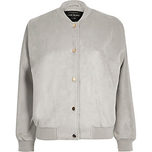 Light grey faux suede bomber jacket