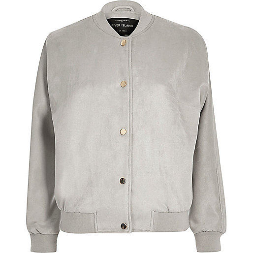 Light grey faux suede bomber jacket