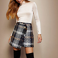 RI Studio grey check tassel mini skirt