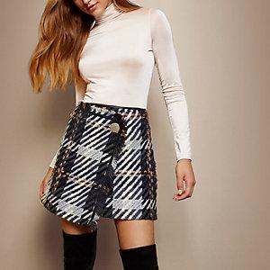 RI Studio grey check tassel mini skirt