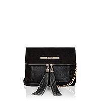 Black suedette tassel foldover bag