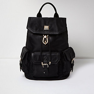 Black oversized flap pocket backpack