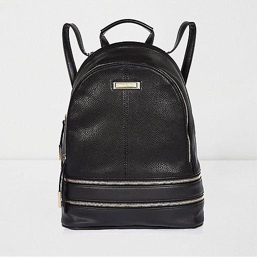Black leather look zip backpack