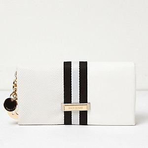 White sporty foldover purse