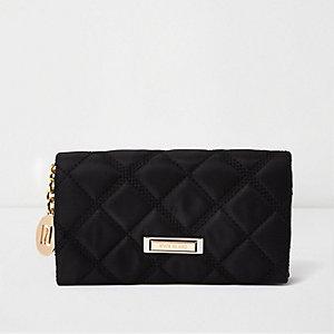 Black quilted foldover purse