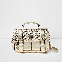 Gold quilted mini satchel bag