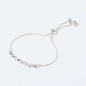 Silver tone gem encrusted bracelet