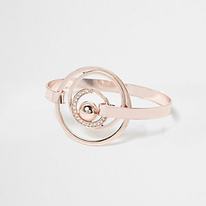 Rose gold tone embellished orbit ring