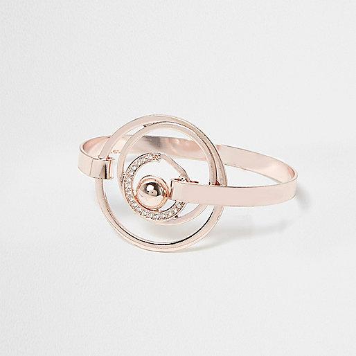 Verzierter Ring mit Kreisbahnen, in Roségold