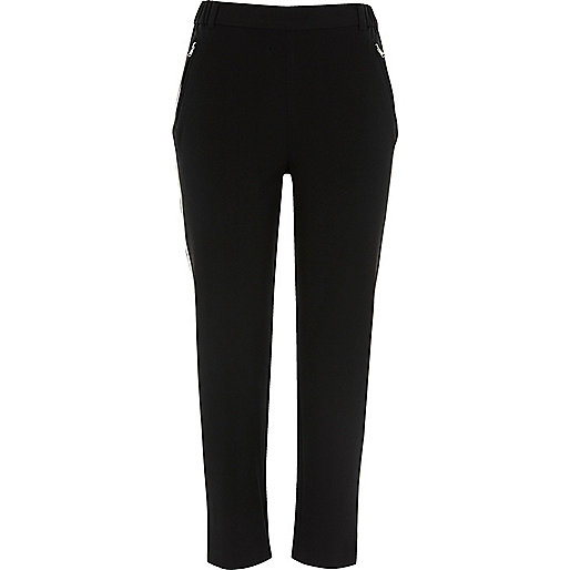 Black contrast side panel tapered trousers