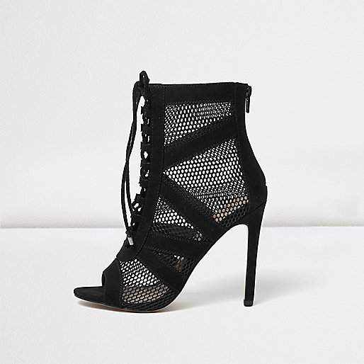 Black mesh panel shoe boots