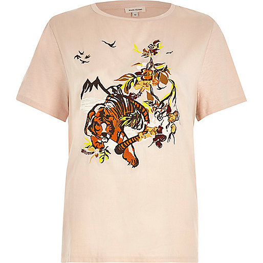 Pink embroidered tiger T-shirt