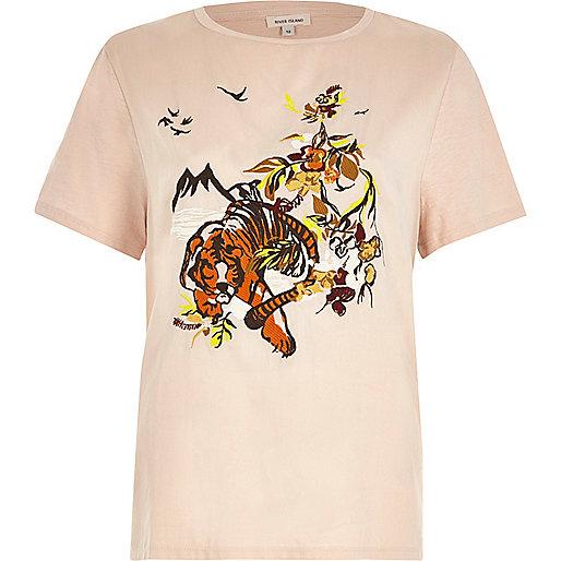 T-shirt rose à tigre brodé