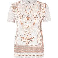 Pink textured print T-shirt