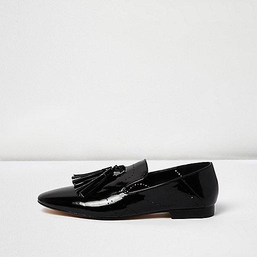 Schwarze Tassel-Loafer in Lackoptik