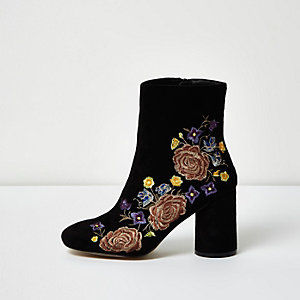 Black embroidered floral ankle boots