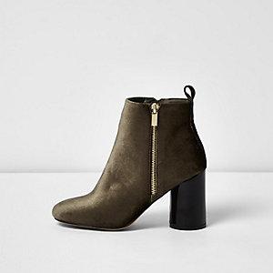 Khaki green velvet block heel ankle boots
