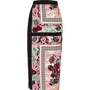 Pink oriental print midi skirt