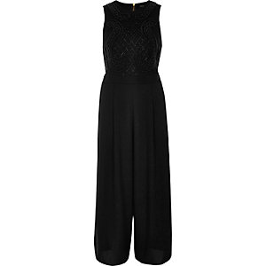 Black embellished culotte jumpsuit