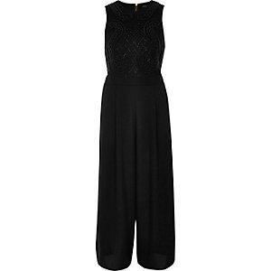 Combinaison jupe-culotte noire ornée