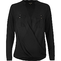 Black military wrap blouse