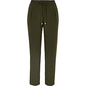 Khaki cord tie soft tapered pants