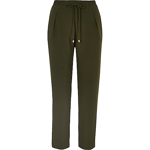 Khaki cord tie soft tapered trousers