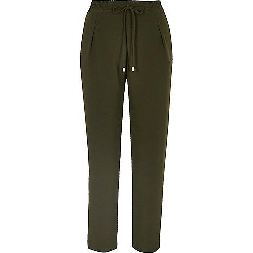 Khaki cord tie soft tapered pants