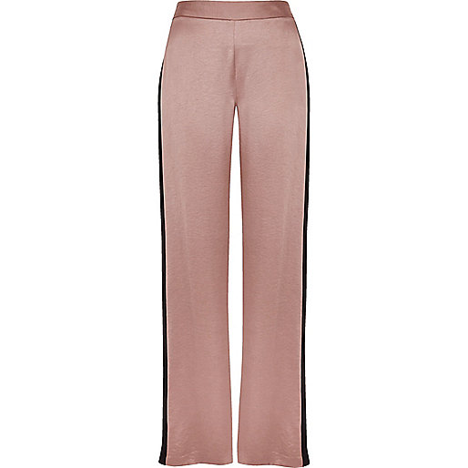 Pink side stripe soft straight leg trousers