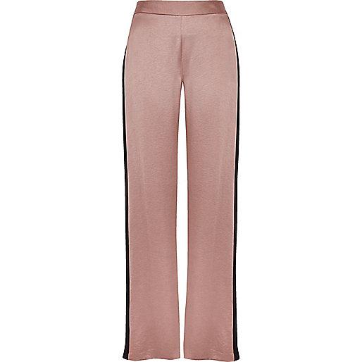 Pink side stripe soft straight leg pants