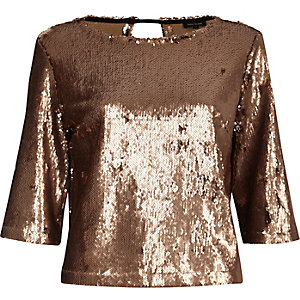 Gold sequin grazer top