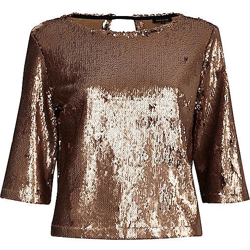 Gold sequin grazer top