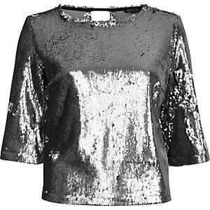 Silver sequin grazer top