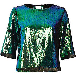 Bright turquoise sequin grazer top