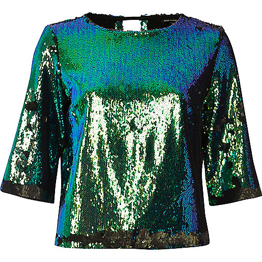 Bright turquoise sequin grazer top