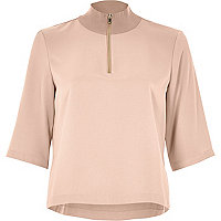 Blush wide sleeve high neck top