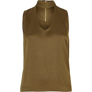 Khaki choker V-neck top