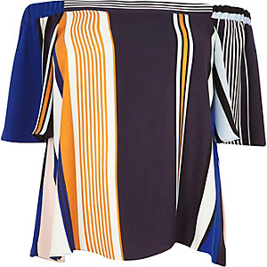 RI Plus blue stripe bardot top