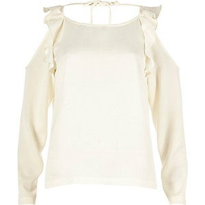Cream frilly cold shoulder top