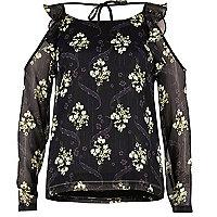 Black print frilly cold shoulder top