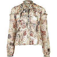 Cream print blouse with frill