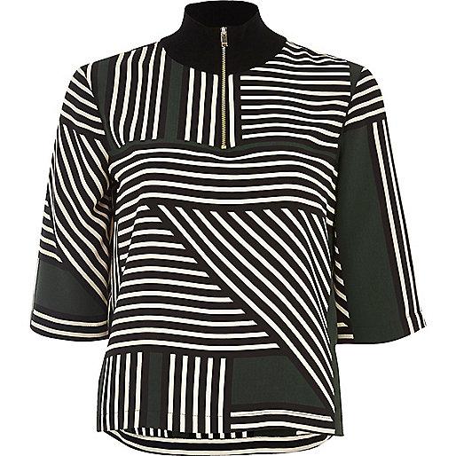 Green stripe wide sleeve top