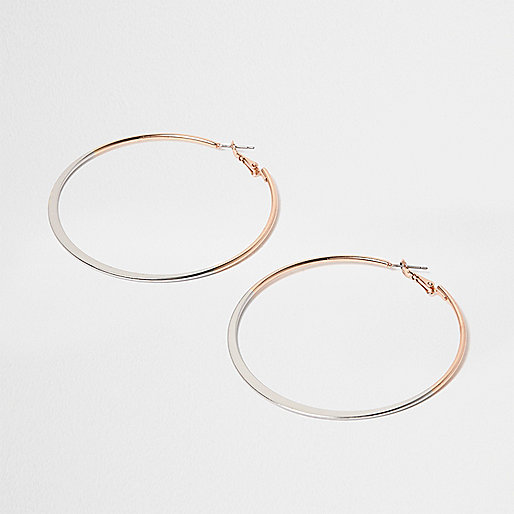 Ombre silver and gold tone hoop earrings