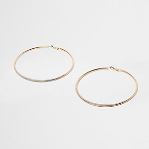 Gold tone glitter oversized hoop earrings