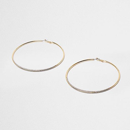 Gold tone glitter oversized hoop earrings