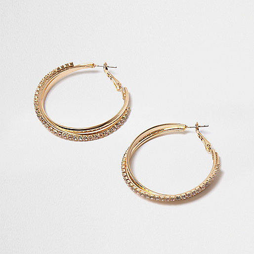 Gold tone gem twisted hoop earrings